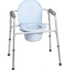 Sedia comoda comprende quattro funzioni in una rialzo per water, supporto per water, sedia comoda e sedile per doccia.