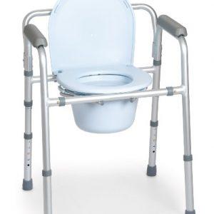 Questa sedia comoda comprende quattro funzioni in una: rialzo per wc, supporto per water, sedia comoda e sedile per doccia