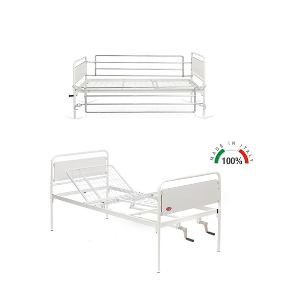 Noleggio letto da degenza tre snodi 2 manovelle con sponde cod iso - Letto ospedaliero con sponde ...