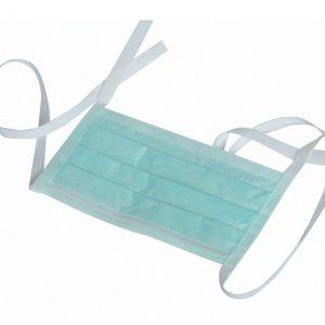Mascherine chirurgiche a 3 strati Fermanaso in alluminio rivestito in PVC Con lacci privi di lattice Priva di fibre di vetro Rifiniture termosaldate Stringinaso adattabile Colore: verde Con lacci Confezione: 50 pz